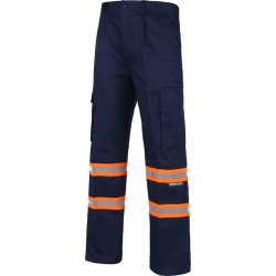 Pantalon de travail haute protection bleu marine/orange fluo