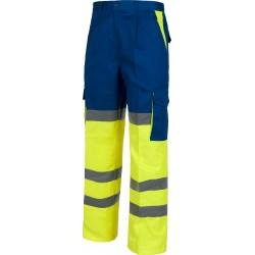 Pantalon de travail bleu royal/jaune fluo