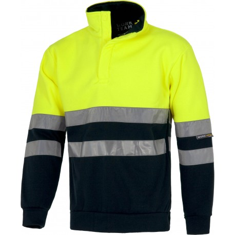 Sweat-Shirt jaune H.V / bleu marine